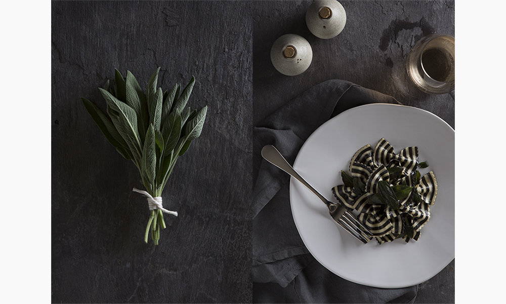 food photography pasta bows sage